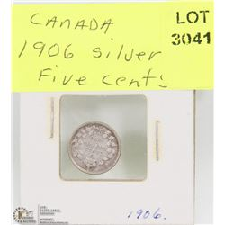 1906 SILVER CANADIAN 5 CENT COIN