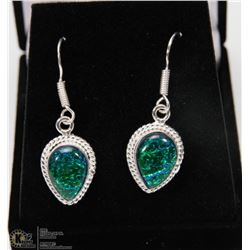 #42-AUSTRALIAN TRIPLE OPAL GEMSTONE EARRINGS