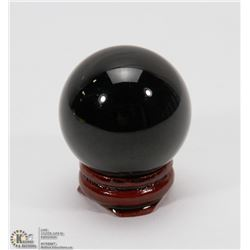 #29-BLACK OBSIDIAN POLISH SPHERE BALL 37MM