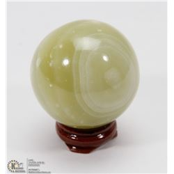 #27-GREEN ONYX POLISH SPHERE BALL 46.8MM