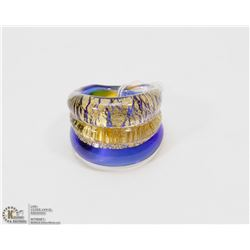 #1) MURANO 3 TONE 24K GLASS RING (JEWELRY)
