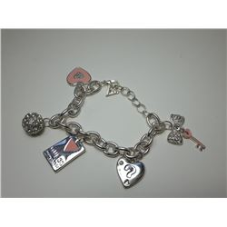 8 - GUESS SILVER TONE, PINK & CRYSTAL