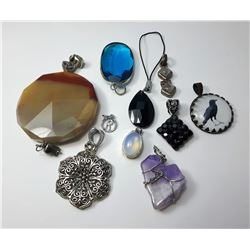 6 - LOT OF 9 PENDANTS & 1 CELL PHONE