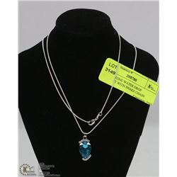RHINESTONE WATER DROP PENDANT WITH SNAKE CHAIN