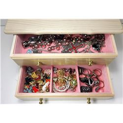 1 - PICKLED OAK 2 DRAWER JEWELRY