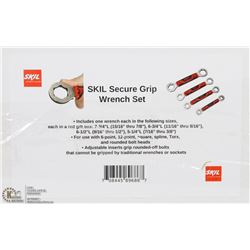 NEW 4PC SKILL SECURE GRIP WRENCH SET
