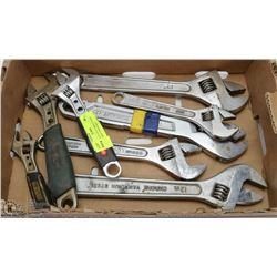 ESTATE LOT OF 8 VARIOUS SIZE ADJUSTABLE WRENCHES