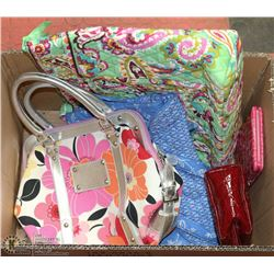 BOX OF NEW OVERSTOCK STORE HANDBAGS, WALLETS AND