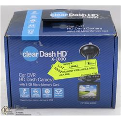 CLEAR DASH HD WIDE ANGLE DASH CAMERA 8GB