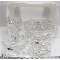 SET OF 2 FOOTED PINWHEEL CRYSTAL BOWLS WITH