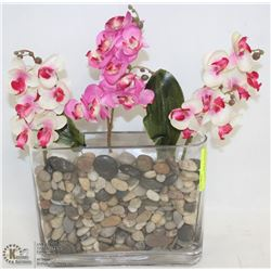 "SILK ORCHID ARRANGEMENT IN RIVER ROCK. 15"" X 10"""