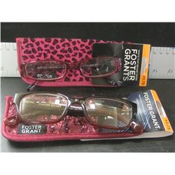 New 2 pair Foster Grant women's Reading glasses with cases / +1.75