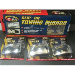 "Clip on Mirror & 3 Convex stick on mirrors - 3.75"" x 2.5"""