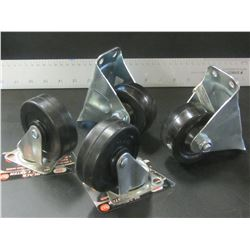 New Set of 4 Castors 3 inch / 2 are Swivel & 2 are fixed