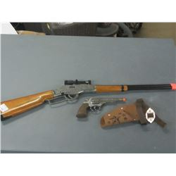 Pair of Kids TOY guns/ Lever Action Rifle with scope made in Italy/needs stock glued and