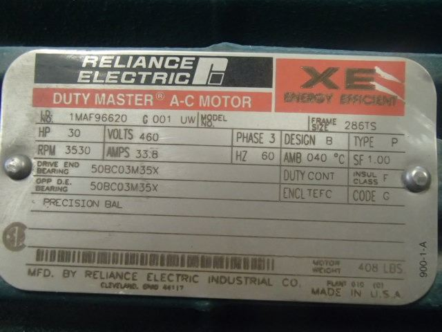 ... Image 7 : Reliance Electric 30 HP Duty Master A-C Motor, ID#- 1MAF96620