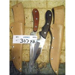Bundle Lot / 2 Knives with Sheaths / Organizers Filled with Electric Parts