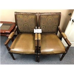 (2) wooden chairs w/leather trim