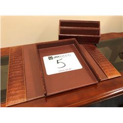 Leather desk organizers with mock crocodile accent trim