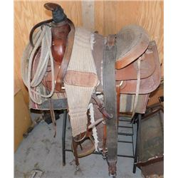 Roping Saddle, Stand, Bridle, Blankets Etc
