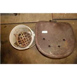 Antique Tractor seat and Variety of metal collectibles