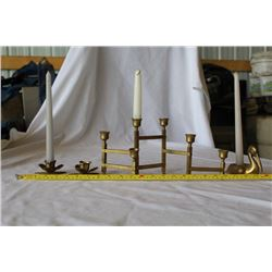 Collection of brass candle holders