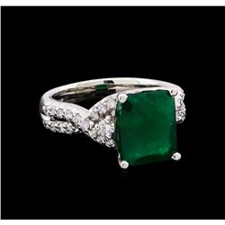4.35 ctw Emerald and Diamond Ring - 14KT White Gold