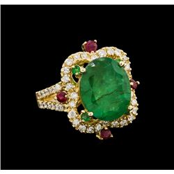 14KT Yellow Gold 6.04 ctw Emerald, Ruby and Diamond Ring