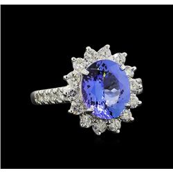 3.37 ctw Tanzanite and Diamond Ring - 14KT White Gold