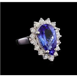 5.02 ctw Tanzanite and Diamond Ring - 14KT White Gold