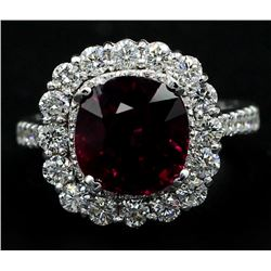 5.30 Carat Cushion Cut Rhodolite Anniversary Diamond Wedding Ring in 14k White G