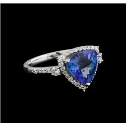 3.60 ctw Tanzanite and Diamond Ring - Platinum