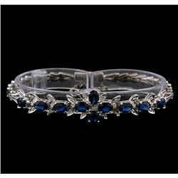 5.50 ctw Sapphire and Diamond Bracelet - 14KT White Gold
