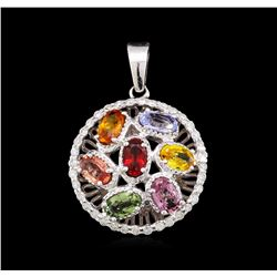 3.80 ctw Multi-Color Sapphire and Diamond Pendant - 14KT White Gold