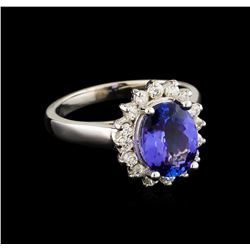 2.44 ctw Tanzanite and Diamond Ring - 14KT White Gold