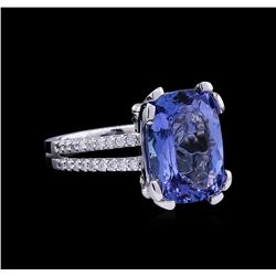 8.30 ctw Tanzanite and Diamond Ring - 14KT White Gold
