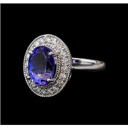 4.00 ctw Tanzanite and Diamond Ring - 14KT White Gold