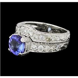 2.50 ctw Tanzanite And Diamond Ring And Attached Band - Platinum