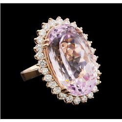29.20 ctw Kunzite and Diamond Ring - 14KT Rose Gold