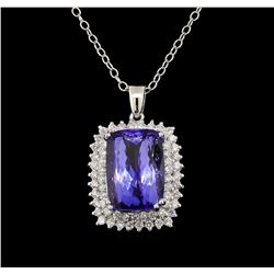 GIA Cert 20.21 ctw Tanzanite and Diamond Pendant With Chain - 14KT White Gold