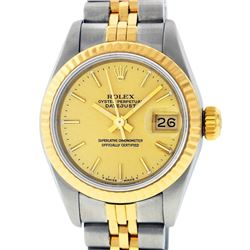 Rolex Ladies 2 Tone 14K Champagne Index Datejust Wristwatch