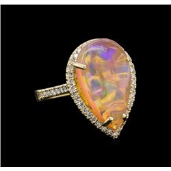 7.21 ctw Opal and Diamond Ring - 14KT Yellow Gold