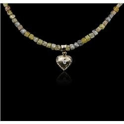 14KT White Gold 32.44 ctw Rough Diamond Necklace With Charm