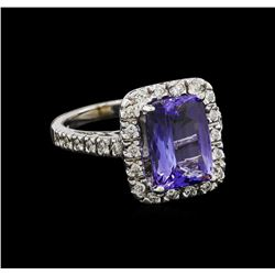 4.03 ctw Tanzanite and Diamond Ring - 14KT White Gold
