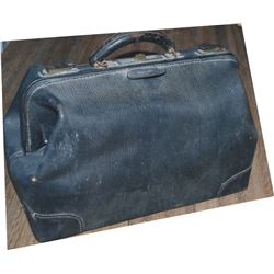 early leather doctor's bag with two books