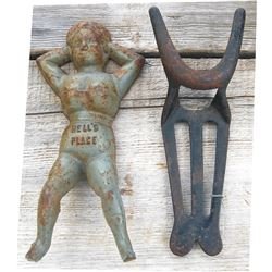 2 antique iron boot jacks