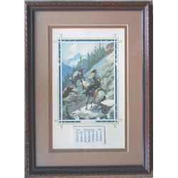 framed 1935 calendar with print On Guard, great condition