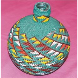Warm Springs Indian beaded bottle