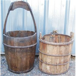 2 antique wooden buckets