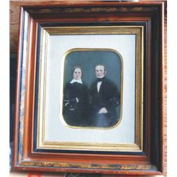 very nicely framed, hand colored tin type picture